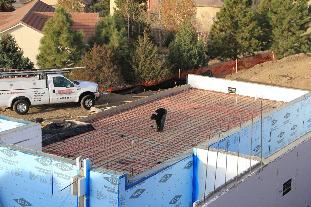 in slab radiant heating installation